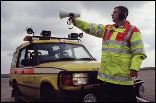 A mobile patrol equipped with scaring devices such as pyrotechnics and distress calls is the most efficient way to detect and disperse birds.